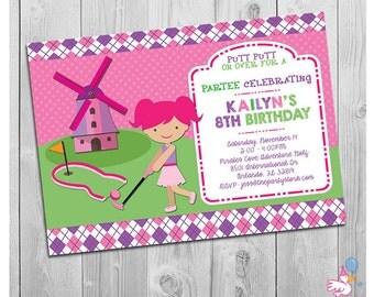 Miniature Golf Invitation: Printable Personalized Girl Mini Golf Birthday Party Invitations | Kids Custom Invites | Putt Putt Digital Invite