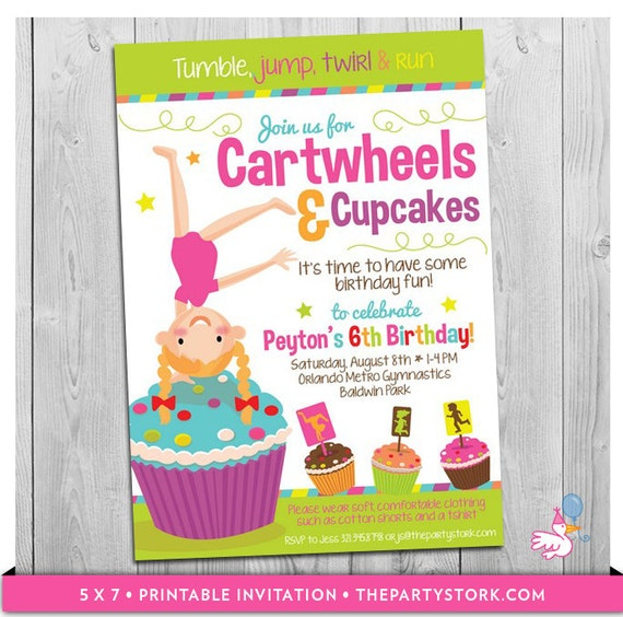 Cartwheels and cupcakes invitation printable girls birthday party il570xn filmwisefo