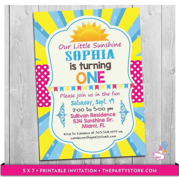 You are my Sunshine Invitation Printable Our Little Sunshine