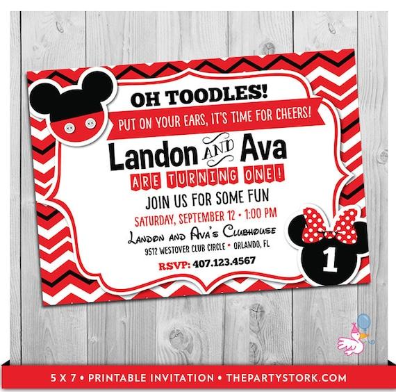 Twin first birthday invitation mickey and minnie twin invitation il570xn filmwisefo