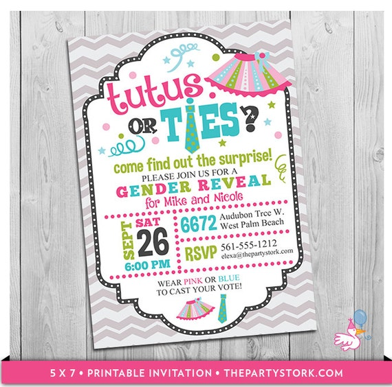 tutus or ties invitation gender reveal party invitation ties or