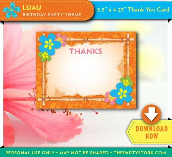 Unique Luau Party Thank You Card | Printable | Hawaiian Luau Birthday  IZ39