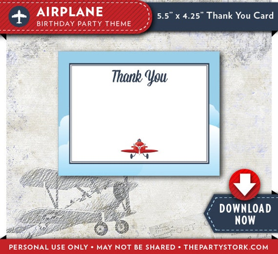 Vintage Airplane Party Printables Airplane Birthday Airplane: Airplane Thank You Card
