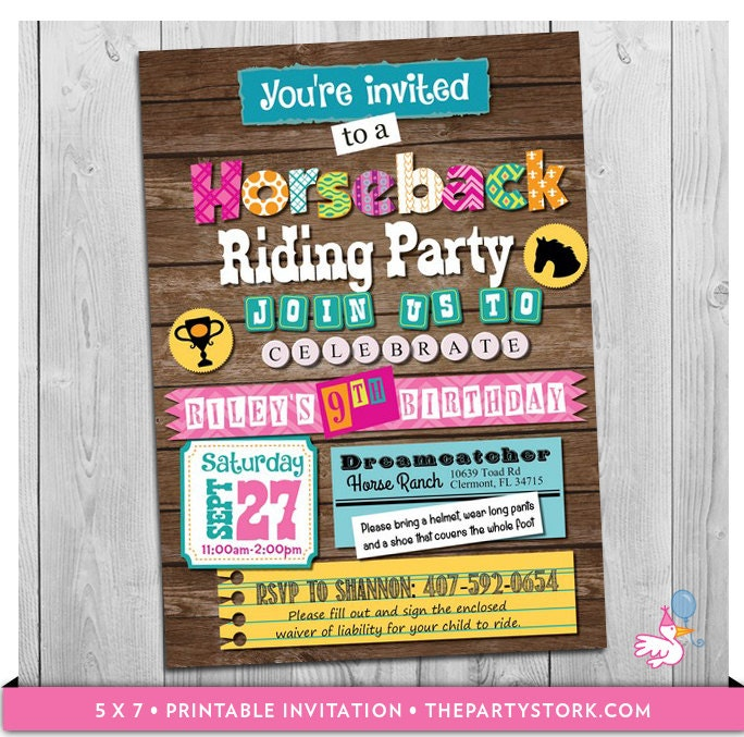 Horse Back Riding Invitation: Custom Printable Girls Horse
