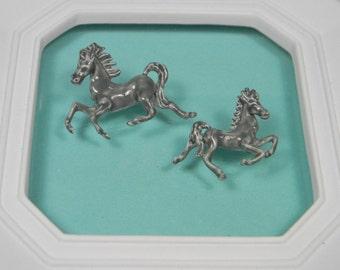 Enamel Horse Brooch or Pins Set, Pale Grey Vintage Figurals
