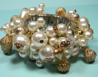 Faux Pearl Cha Cha Expansion Bracelet, Ornate Gold Tone Cutout Beads, Party Girl