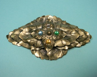 Ornate 40s Leaf Brooch or Pin, Rhinestones, Dimensional