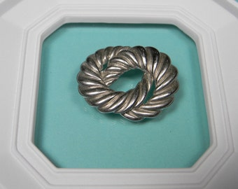80s Scarf Ring, Silver Tone Sculptured Look Modern Vintage