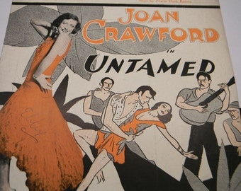 1929 Chant of the Jungle Sheet Music, Joan Crawford in Untamed, Freed and Brown