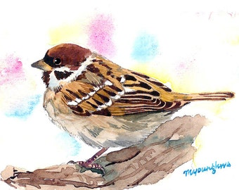 ACEO Limited edition of 2/25- Another April, Sparrow art, Perching bird, Art print of an original ACEO watercolor, Gift for her, Bird lovers