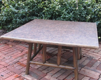 Vintage Bamboo Coffee Table with Swirl Pattern Square Top