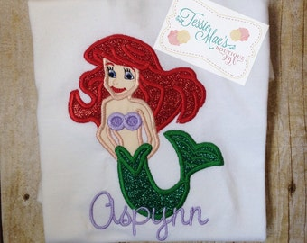 Mermaid Applique, Disney, Little Mermaid, Ariel, Applique, Embroidery