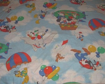 Vintage Mickey Mouse/Disney Characters Twin Flat Sheet/Material - Mickey, Minnie, Goofy, Dumbo in Hot Air Balloons, Blimp, etc.