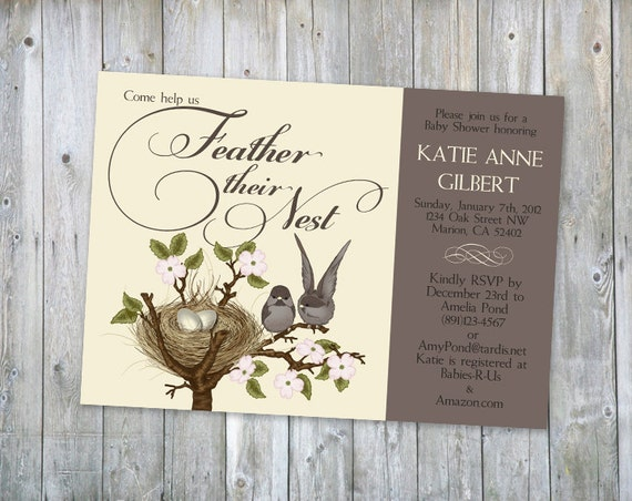 Cute lil birds flock together feather her nest shower invitation - Printable