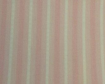 Pink Stripe Cotton Fabric / Pink Cotton Fabric / Sheer Pink Fabric / Vintage Pink Fabric / 1 Yard