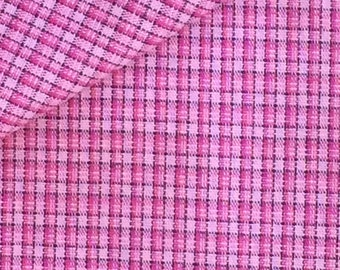 Pink Plaid Fabric / Pink Woven Cotton Fabric / Pink Cotton Fabric /  Plaid Fabric / Cotton Fabric