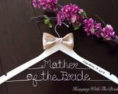 Burlap two line hanger, Custom Bridal Hangers,Bridesmaids gift ideas,Wedding hangers with names,Custom made hangers