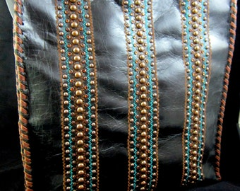 KurtMen~Hand Rubbed~Coco Black~Italian Leather~Whiskey Colored Faceted Swarovski Crystals~ Coppery Brown Studs~Turquoise/Brown Accents~TOTE