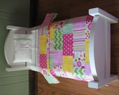 """American Girl/18"""" doll sized Quilt Bedding Set in Pink/Green/Yellow"""