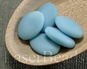 10pc Sky blue beads 20mm |  Blue glass beads | Frosted blue flat ovals Czech Glass | Matte Opaque Blue beads