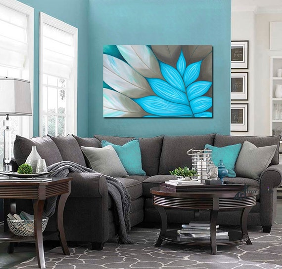 Vintage Bedroom Design Ideas Turquoise Bedroom Paint Ideas Bedroom Decor Items Bedroom Ideas Mink: Large Wall Art Abstract Painting Canvas Art By ArtFromDenise