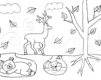 Coloring pages for kids, 5 pc, digital