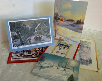 Christmas Cards for Scrap Booking Landscape Prints Upcycle Supplies