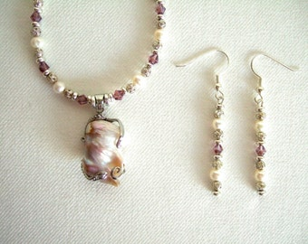 Gorgeous Baroque Pearl Pendant Necklace & Earrings Pink Swarovski Crystal Necklace Silver Filigree Jewelry Wedding Necklace Gifts for Her