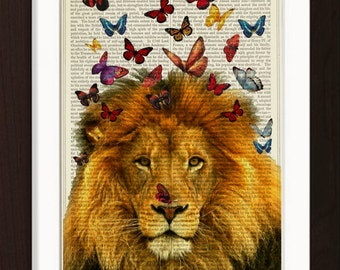 Lion with  Colorful Butterflies  print on vintage (1880's) upcycled Dictionary Encyclopedia book page
