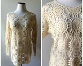 Crochet Medallion Sweater Vintage 90s Long Tunic Knit Pullover Blouse Size M/L Medium Large Sheer Shirt 1990s Hippie Boho Lightweight Top