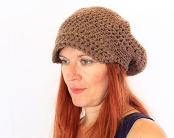 Women crochet beret hat with visor newsboy hat slouchy tam hat visor in taupe brown, Hebe, vegan friendly, ready to ship