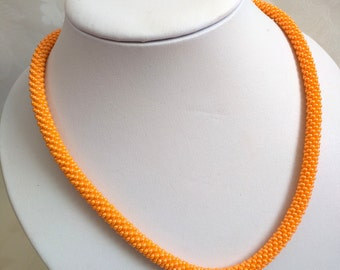 Crochet Bead Necklace - ORANGE