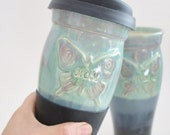 IN STOCK, Mothers Day Gift, Mom Ceramic Travel Mug with Lid, Butterfly Clay To Go Mug with Silicone Lid