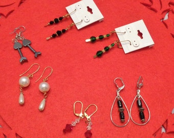 Collection of 6 Pairs of Earrings Great gifts Pearl Onyx Hematite Crystal