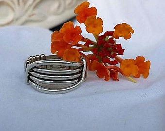 Wire Wrapped .935 Argentium Silver Minimalist Simple Band Ring Size 8.5 R-0004