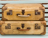 A pair of Vintage  Leather trimmed Suitcase, Pig skin look, Vintage Wedding, Vintage Home, Travel, Storage