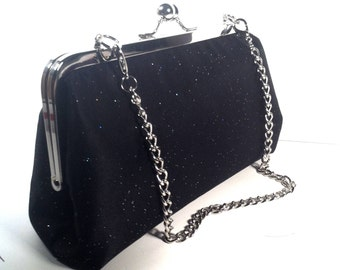 Glitter Black Purse, Clutch, Bag 8 X 5 X 2.5 w/ 17  inches Silver Chain Handle