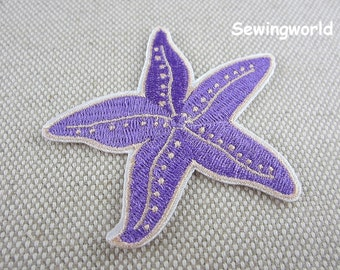 Iron-on Patch, Purple Starfish Patch, Embroidered Patch for Jeans, Backpack