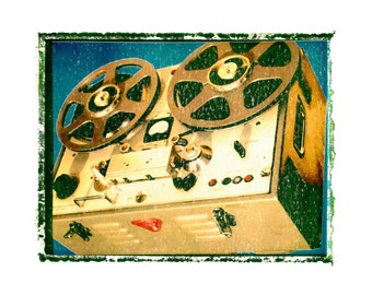 Reel to Reel analog music art print / music gift / rock n roll art / music room decor / guitar gift / man cave art