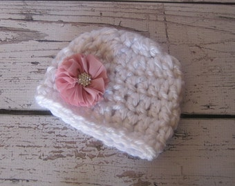 Crochet baby hat,newborn baby hat,baby boy hat,baby girl hat,newborn prop,baby newborn hat,baby beanie,boy beanie,girl beanie,chunky flower