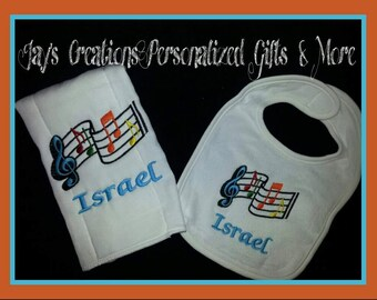 Personalized Music Theme Bib & Burp Cloth