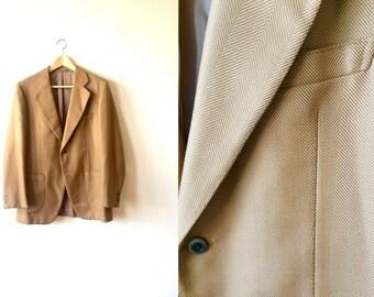 SALE Silk Twill Tan Blazer Made in Italy Sportcoat Vintage Mens 40