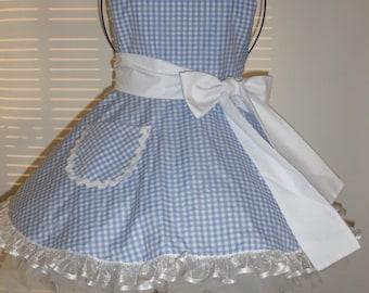 Little Girl's Retro Costume Apron Full Circular Skirt Blue and White Gingham Ruffled Bottom