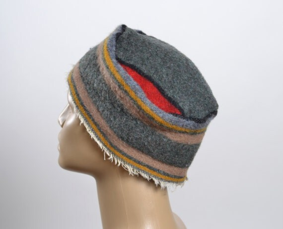 Upcycled Wool Hat - Women's Winter Hats - Woman Wool Hats - Southwest - Tribal - Winter Hats - Striped - Hats