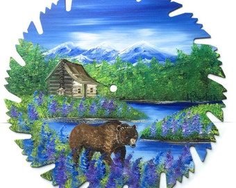 Hand Painted Saw Blade Mountain Summer Log Cabin and Brown Bear