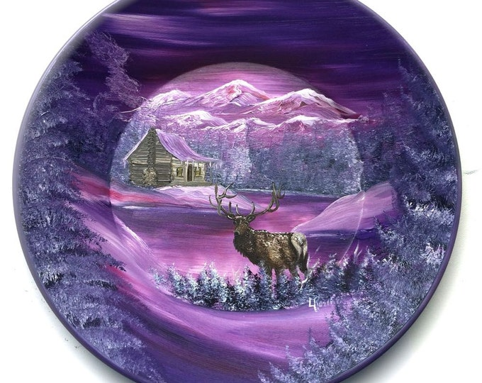 Hand Painted 11 Inch Gold Pans Lavender Winter Log Cabin and Elk  On Sale!!
