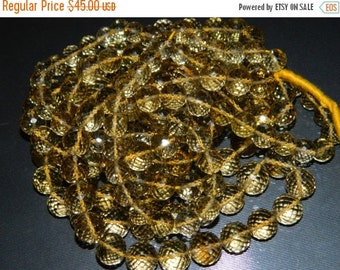 20%off. 8 Inches Long Strand-Superb-Natural Honey Quartz Faceted Round  Concave Cut  Beads-Faceted Gemstone-size 12mm