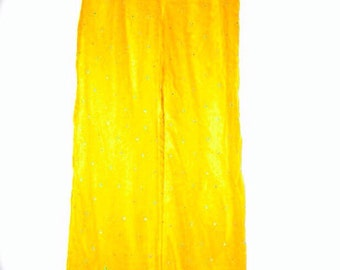 Handmade Yellow and Turquoise retro elastic PALAZZO wide leg lightweight vintage ladies pants