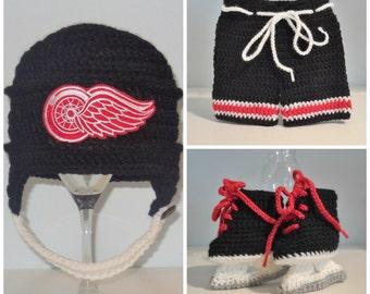 Baby Hockey Set - Crochet hockey helmet, shorts and skates set