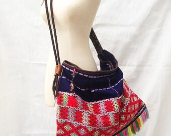 Tribal Boho Crossbody Bag with Leather Strap